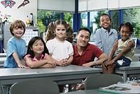 Portrait of children with teacher