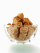 Brown Sugar Cubes in a Glass Bowl