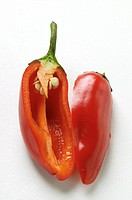 Red chili pepper, halved