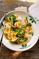 Orecchiette with broccoli, chili flakes and Parmesan