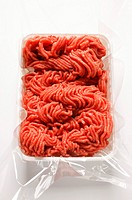 Fresh minced beef in plastic container