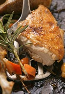 Crispy roast chicken breast on baking tray