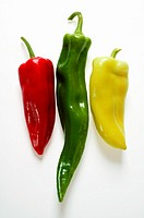 Red, green and yellow pointed peppers