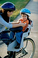 Mother and son on a bicycle