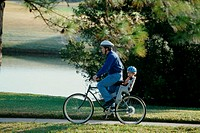 Father and son on a bicycle