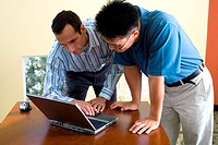 Two businessmen standing looking at a laptop