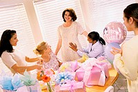 Group of young women at a baby shower