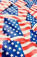 Close up of American flags