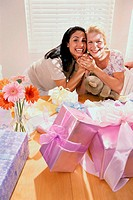 Portrait of two young women smiling at a baby shower