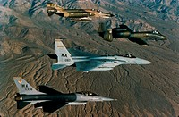 Aerial view of F-16 Fighting Falcons flying in formation