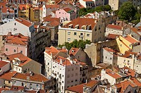 Overview on Lisbon from st. George´s Castle. Lisbon, Portugal
