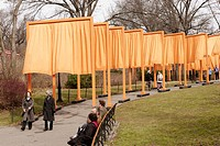 Christo and Jeanne Claude's public art installation, The Gates, Central Park Manhattan New York City USA