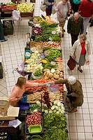 Lehel Food Market. Interior. Lehel Csarnok. Pest. Budapest. Hungary. 2004.