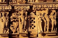 Temple architectural detail. Khajuraho. Madhya Pradesh. India.