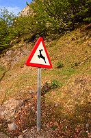 Wildlife road sign. Asturias, Spain
