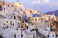 High angle view of houses in a village, Santorini, Cyclades Islands, Greece