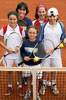 10-15 year old children in clay court, tennis school. Royal Tennis Club of San Sebastian, Euskadi, USA