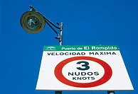 Maximum speed sign in El Rompido port, Huelva. Andalusia, Spain