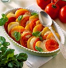 Tomato and mozzarella gratin with potatoes