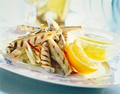 Grilled sand eel with lemon butter
