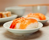 Nigiri sushi with shrimps and with salmon (2)