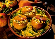 Stuffed Apples on Curry Cabbage