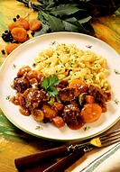 Venison ragout with dried apricots & home-made noodles