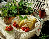 Fresh Strawberry Crepes in Garden Setting
