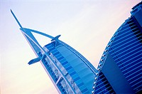 Burj Al Arab hotel and Jumeirah Beach hotel in Dubai, UAE