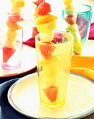 Fruit kebabs in glasses