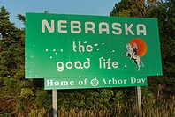 Nebraska welcome sign, USA