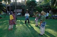 Men playing sepak raga, Terengganu, Malaysia