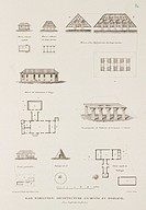 'Ancient and modern' Micronesian buildings including a salt factory, the governor´s house at Pago, and a chief´s house. Illustration from 'Voyage auto...