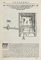 Engraved diagram showing a method of ventilating a room. Illustration from ´Gli artifitiosi et curiosi moti spiritali di Herrone´ (commonly called ´Pn...