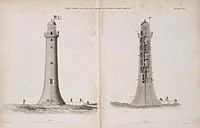 Engraving showing the completed lighthouse being provisioned, (left), and the entrance to the lighthouse as well as the five internal rooms of the hou...