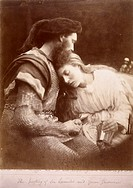 Albumen print. Photograph by Julia Margaret Cameron (1815-1879) of a scene from Alfred Lord Tennyson's 'Idylls of the King'. Cameron´s photographic po...