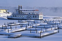 Clark, North Dakota, Steamboat Lewis, near Mandan, Missouri River, snow, USA, America, United States, North America,