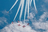 Canadian forces Snowbirds during airshow. Bagotville military base, Quebec, Canada