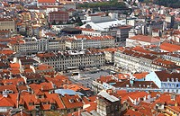 Praça da Figueira, view from St. George's Castle to city, Lisbon. Portugal