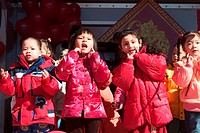 Participants and spectators at the Chinese New Year celebration in Brooklyn, New York, 2005.