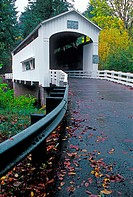 This bridge features decorative end brackets, ribbon openings under the eaves, wooden deck flooring and a side window. It is located in Lane County, O...