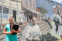 Historic District, Cherry Street A.M.E. Church mural, White businesswoman. Dothan, Wiregrass Region. Alabama. USA.