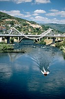 Miño river and Millenium Bridge, Orense. Galicia, Spain