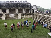 Tourist group in The Palace of Palenque, Maya archeological site (600 - 800 A.D.). Chiapas, Mexico