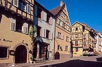 Half-timbered houses. General de Gaulle street. Riquewihr. Haut Rhin. Alsace. France.