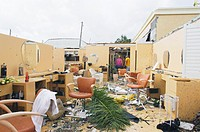 Hurricane damage. Beauty salon in Punta Gorda, Florida, USA, destroyed by Hurricane Charley. Hurricane Charley moved inland and hit Port Charlotte, Fl...