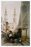 Lithography by british artist David Roberts, 1842.Bab zwela in Cairo, Egypt