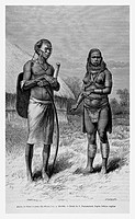 Maasai people. Engraving from 'Le tour du monde'