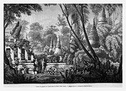 Ruins in forest. Vien Chan. Engraving from 'Le tour du monde'