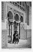 Moorish arcade, Alcázar, Seville, Spain. Engraving from 'Le Tour du Monde'